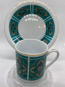 China. Demitasse Cup and Saucer. Teal Green/Gold.