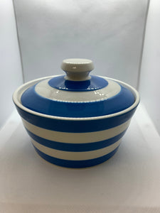 Cornish Ware- T G Green & Co. UK.  Blue and White Striped Butter Pot/Covered Bowl