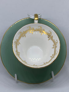 Aynsley, England. Cup and Saucer. Sage Green with Gold