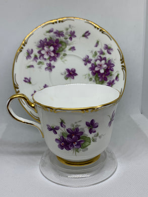 "Aynsley, England. Cup and Saucer. "" Violette"". Purple Violets."