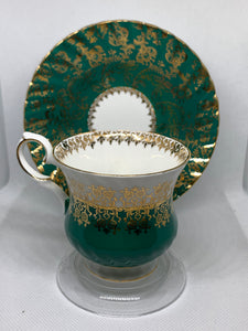 Elizabethan. England. Cup and Saucer. Hunter Green with white- gold floral chintz.