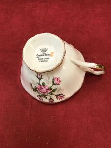 Queen Anne. England. Cup and Saucer.  Pink Roses, Gold Trim