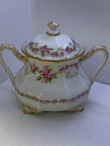 Limoges. France. Bridal Roses. Large sized Sugar Bowl with Lid.