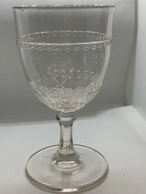 Nova Scotia , Pressed Glass, Goblet, Tandem Bicycle-Antique. HOLD For CEES