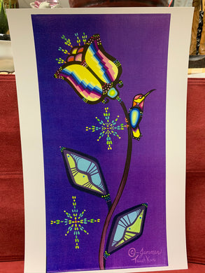 Print. Ojibwe- Woodland Style.  Large flower and Tiny Hummingbird.  By Jenner Tauch Kwe.