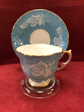 Aynsley, Turquoise with White Roses.  HOLD for  Sarah