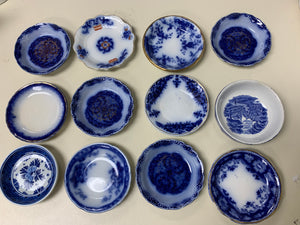 Miniature Plates- Blue and White.  Collection of 12