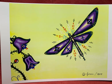 Print .  Ojibwe-Woodland Style-  Dragonfly.   By  Jenner Tauch Kwe