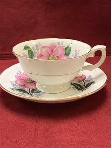 Royal Grafton, England, Cup and Saucer. Wild Roses, pink