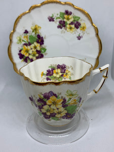 Victoria, England. Cup and Saucer.  Yellow and Purple Violets