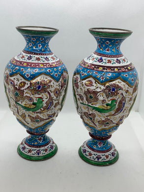Vases-  Russian, Enameled, Hand Painted.  Pair of Matching Vases