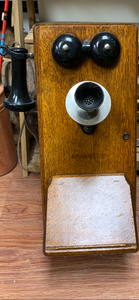Tools. Antique Oak- Wall Mount- Hand Crank Telephone. In store pick up only.
