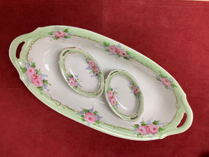 Nippon, Japan. Celery Server with matching Salt Cellars