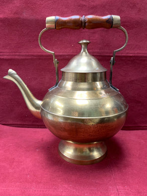Unmarked, Brass Tea Pot with Wooden Handle.