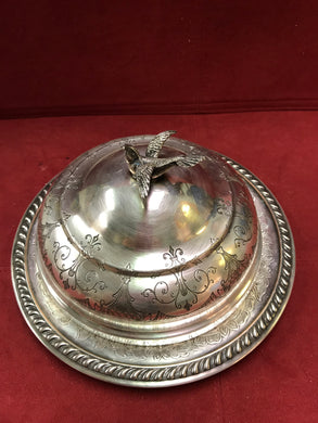 Butterdish, Silver Plated, Canada, Victorian 3 pc  Butter Dish, Round
