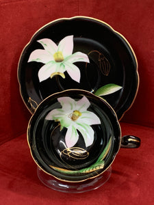 Occupied Japan, Princess China, Cup and Saucer, Large white Flower on Black