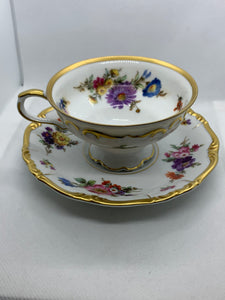 Edelstein, Bavaria. Cup and Saucer. Maria Theresia. Multi coloured floral, gold trim