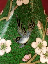 Load image into Gallery viewer, Vase.Oriental, Closionne,Mirrored Pair, Cherry Blossoms and Bird