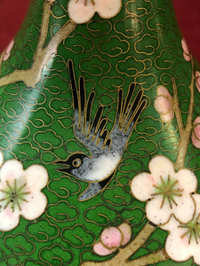 Vase.Oriental, Closionne,Mirrored Pair, Cherry Blossoms and Bird