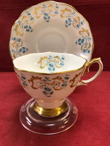 Royal Albert, Rocaille, Blue and Gold motif on white background
