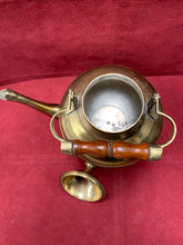 Load image into Gallery viewer, Unmarked, Brass Tea Pot with Wooden Handle.