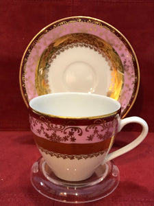 H & C. Czechoslovakia, Cup and Saucer. Burgundy, Pink /Gold Set of 4