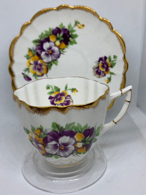 Victoria, England. Cup and Saucer.  Bearded Pansies
