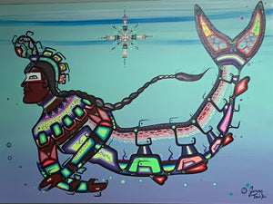 Indigenous. Painting. Original on Canvas. First Nations-Ojibwe- Woodland Style - Water Spirit, By Jenner. Tauch Kwe