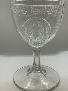 Nova Scotia , Pressed Glass, Goblet,  Raspberry Shield.  Antique.  HOLD For CEES