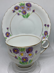 Pheonix China, England.  Cup and Saucer.  Purple flowers.