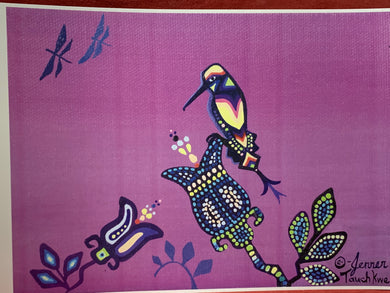 Print. Ojibwe. Woodland Style.  Hummingbird and Dragon Flies.  By. Jenner Tauch Kwe