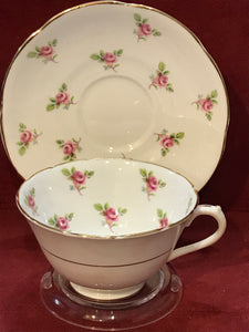 Collingwood, England. Cup and Saucer. Pink Roses
