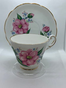 Regency,  England.  Cup and Saucer. Large Pink Roses
