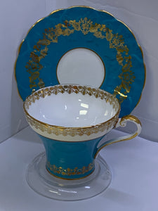 Aynsley . England. Cup and Saucer. Teal Blue with Gold