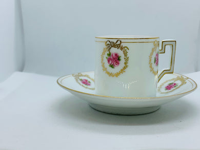 Germany, Thu E MR.  Pink Roses. Demitasse Cup and Saucer