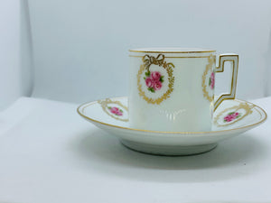 Germany, Thu E MR. Demitasse Cup and Saucer. Pink Roses.