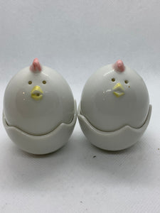 Egg Holder. Japan. Two piece- EggHolder and Chick-Salt and Pepper