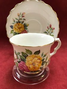 Hamilton China. England. Cup and Saucer, Pink and Yellow Roses
