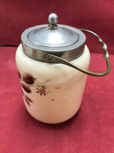 Load image into Gallery viewer, Biscuit Barrel, Victorian, Satin Glass, Pewter and Brass, apple blossoms