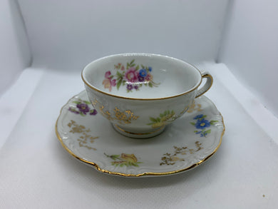 Winterling, Bavaria.  White with Multicoloured Mixed Floral. Demitasse Cup and Saucer