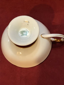 Aynsley, England.  Cup and Saucer.  Burgundy/Gold