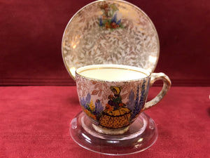 Empire. England. Demitasse cup and Saucer. Crinoline Lady, Gold Chintz