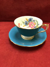 Load image into Gallery viewer, Aynsley . England. Cup an Saucer. Teal Blue with floral