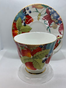 Duchess, England. Cup and Saucer.  Strawberries