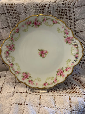 Limoges,  Bridal Rose.  Cake Plate with two handles. Pierced.