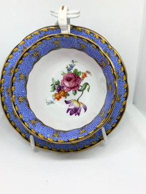 Aynsley, England.  Cup and Saucer, mixed floral, blue chintz.