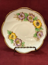 Load image into Gallery viewer, Salisbury, England. Cup and Saucer.  Bearded Pansies