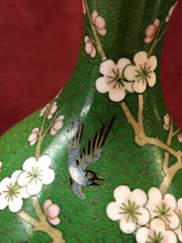 Load image into Gallery viewer, Vase.Oriental, Closionne, Mirrored Pair, Cherry Blossoms and Bird