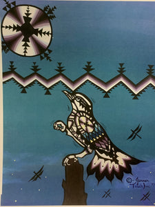 Print.  Ojibwe- Woodland Style.  Black and White Bird-  by Jenner Tauch Kwe