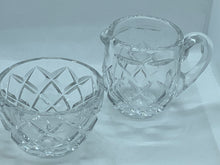 Load image into Gallery viewer, Crystal. Hand Cut. Diamond Pattern. Vintage. Creamer and Sugar